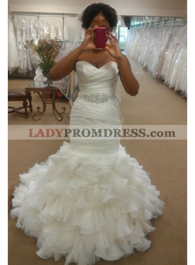 Alluring Mermaid Sweetheart Organza Beaded Belt Ruffles 2020 Wedding Dresses