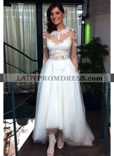 A Line High Low Tulle Long Sleeves 2020 Wedding Dresses