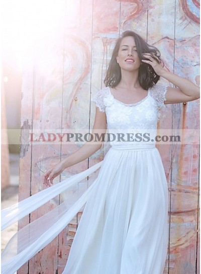 Cheap Chiffon A Line Capped Sleeves Backless Lace 2020 Wedding Dresses