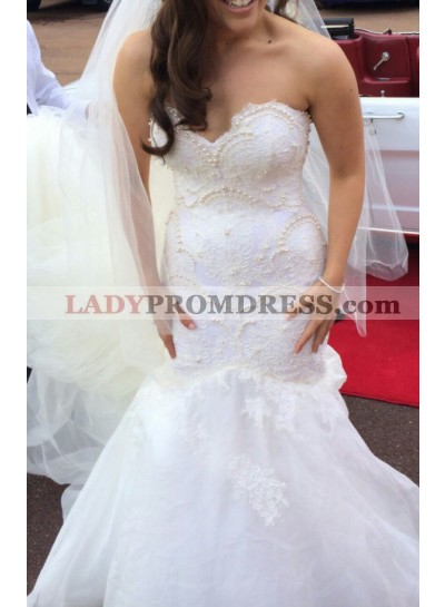 Sexy Mermaid Sweetheart Lace With Pearls Tulle 2020 Wedding Dresses