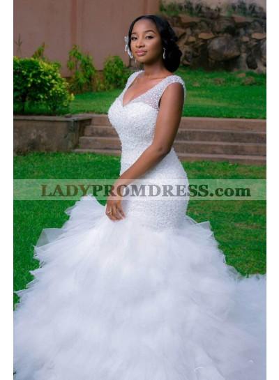2021 New Arrival Mermaid Sweetheart Layers Tulle Ruffles Beaded Wedding Dresses