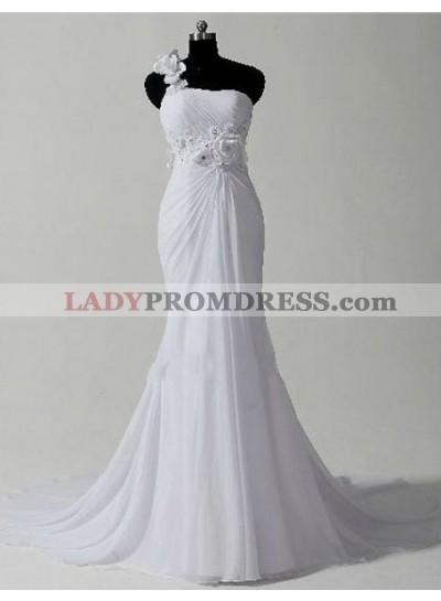 One Shoulder Chiffon Mermaid 2021 Chiffon Wedding Dresses With Flowers