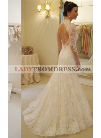 Charming Lace Sheath Long Sleeves Sweetheart 2021 Wedding Dresses
