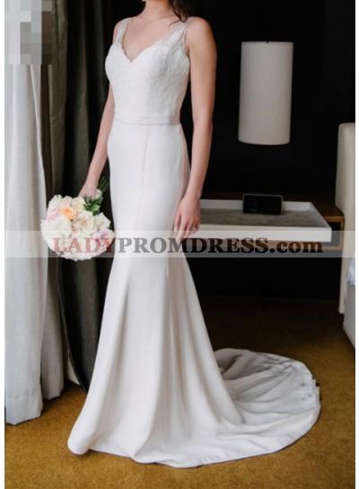 Elegant Sheath Satin V Neck Wedding Dresses With Belt