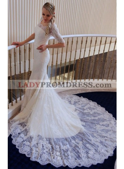 Mermaid Lace Long Sleeves Off The Shoulder 2021 Wedding Dresses