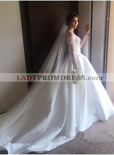 2020 Elegant A Line Satin Sweetheart Long Sleeves Wedding Dresses