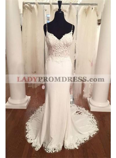 2021 Elegant Sheath Sweetheart Lace Spaghetti Straps Wedding Dresses