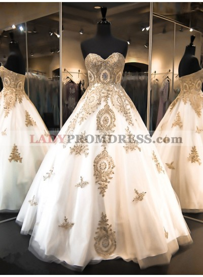 2020 New Arrival A Line Sweetheart Tulle With Gold Embroidery Wedding Dresses