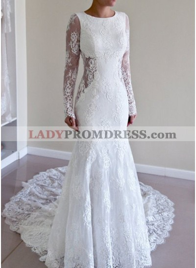 Backless Sheath Long Sleeves Scoop Lace 2020 Wedding Dresses
