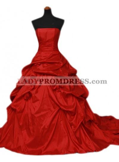 Red Strapless Taffeta Ruffles Ball Gown 2021 Wedding Dresses