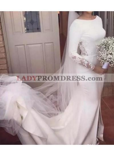 Elegant Scoop Satin Long Sleeves 2021 Backless Wedding Dresses