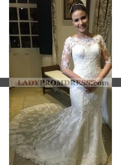 2020 Sheath Half Sleeves Lace Wedding Dresses With Small Train