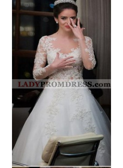 Elegant A Line Tulle Long Sleeves With Appliques 2021 Wedding Dresses