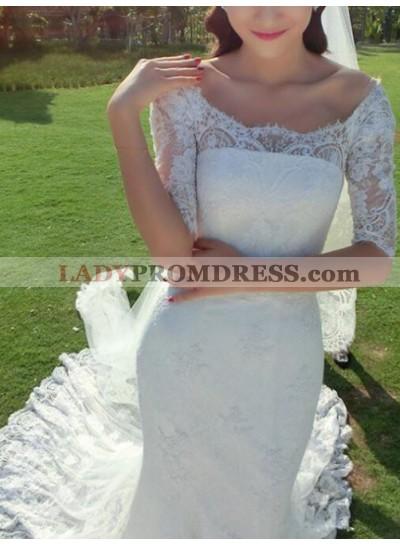 2021 Elegant Scoop Lace Sweep Train Half Sleeves Wedding Dresses