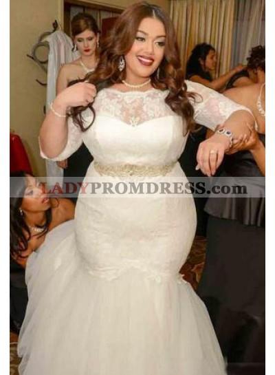 2021 Mermaid Long Sleeves Lace Plus Size Wedding Dresses