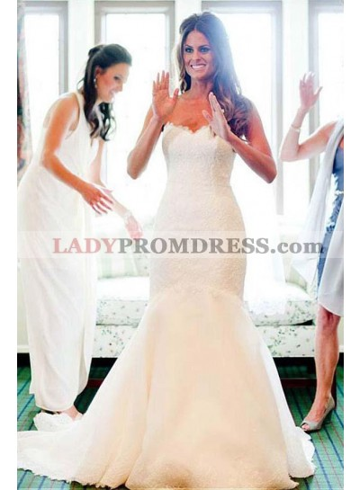 2021 Elegant Mermaid Sweetheart Lace Wedding Dresses With Small Train