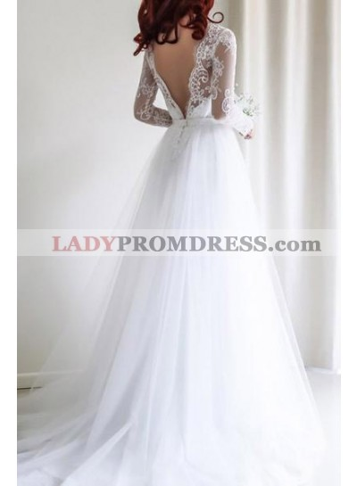 Cheap A Line Tulle Backless Long Sleeves 2021 Wedding Dresses