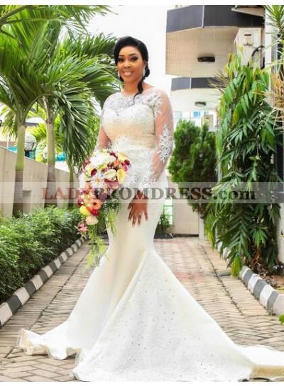 2020 Mermaid Long Sleeves Satin Sweetheart Wedding Dresses