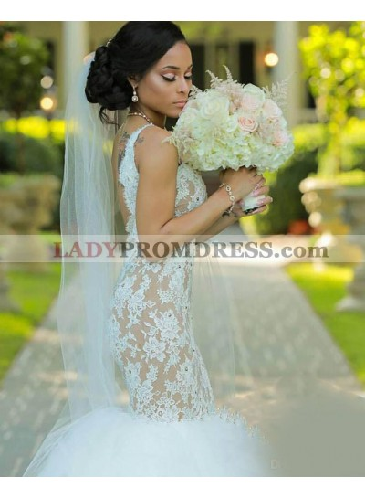 Sexy Mermaid Backless Lace Tulle 2020 Wedding Dresses
