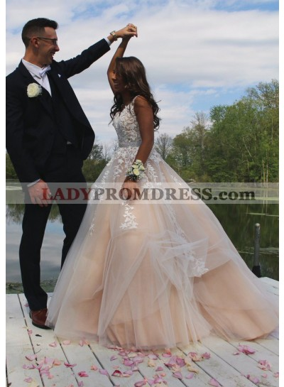 2020 New Arrival A Line Tulle Wedding Dresses With Appliques
