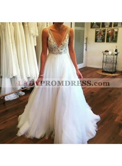 2021 Gorgeous A Line V Neck Backless Lace Tulle White Wedding Dresses