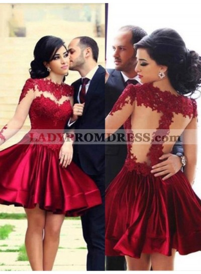 A-Line Princess High Neck Long Sleeves Elastic Woven Satin Short Homecoming Dresses