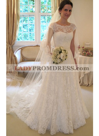 Elegant A Line Lace Long Train 2020 Wedding Dresses