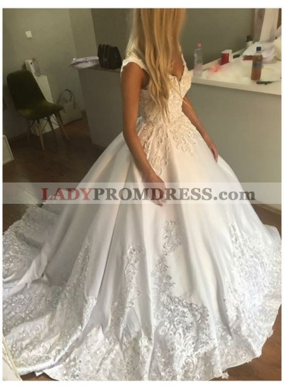 Classic Sweetheart Satin Embroidery Ball Gown Wedding Dresses