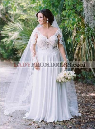 Cheap A Line Chiffon Sweetheart Long Sleeves Plus Size Wedding Dresses