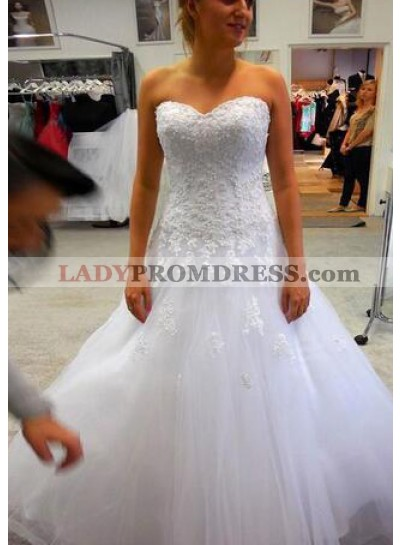 Cheap A Line Sweetheart White Tulle With Appliques Wedding Dresses