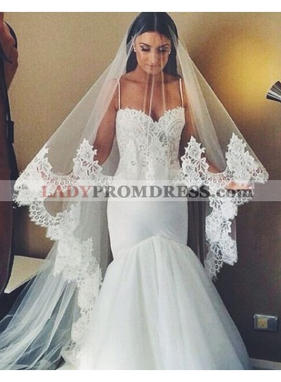 Sexy Mermaid Sweetheart With Spaghetti Straps Lace Tulle 2021 Wedding Dresses