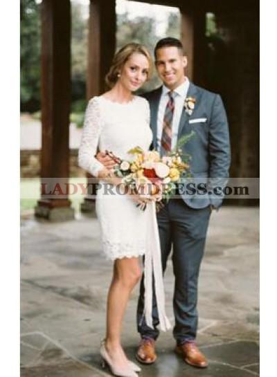 2021 Sheath Long Sleeves Lace Knee Length Short Wedding Dresses