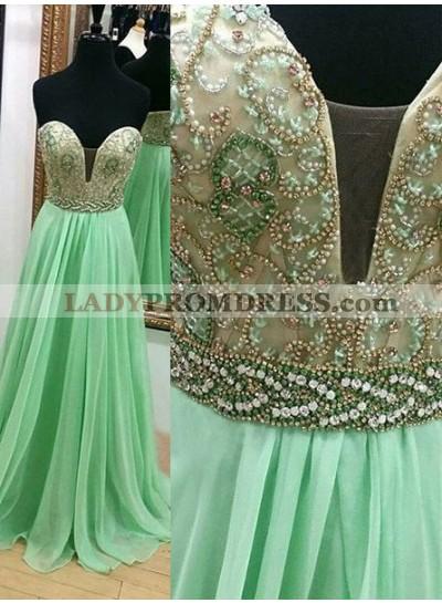 Beading Floor-Length/Long A-Line/Princess Chiffon Prom Dresses