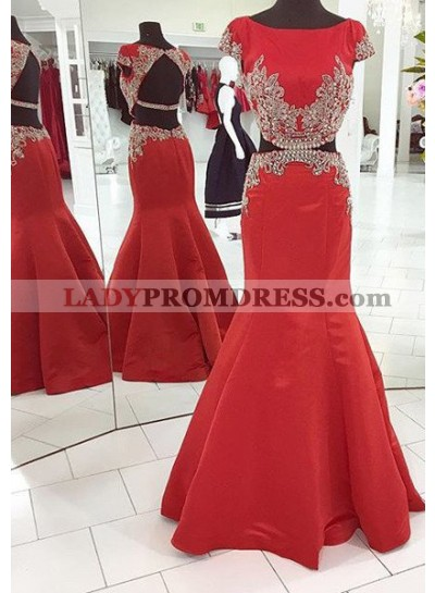 2018 Gorgeous Red Capped Sleeves Crystal Backless Mermaid/Trumpet Satin Prom Dresses