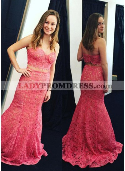 2019 Gorgeous Red Sweetheart Mermaid/Trumpet Lace Two Pieces Prom Dresses
