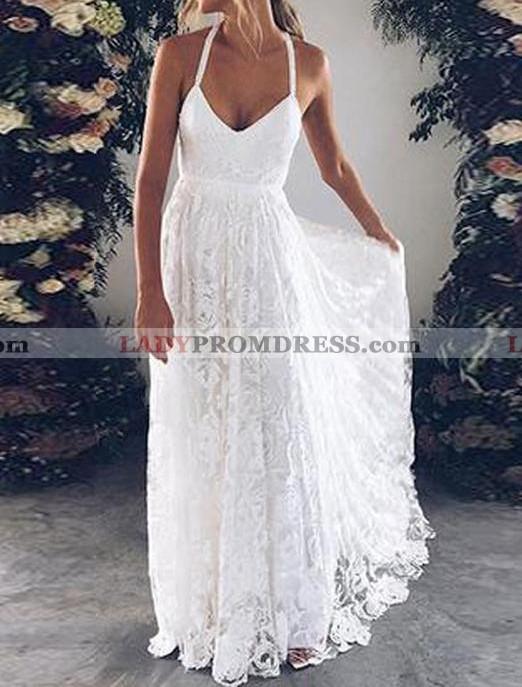 Cheap A Line Halter Sweetheart Lace Backless Beach Wedding Dresses 2020