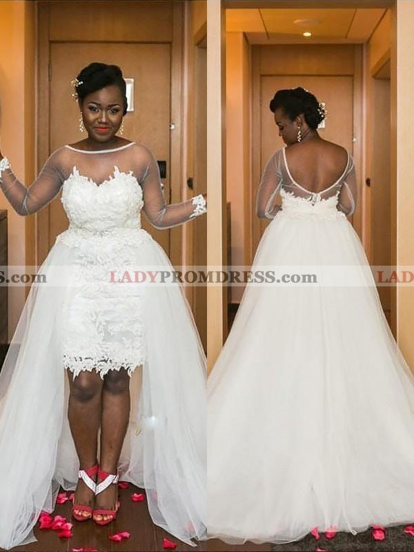 2020 A Line High Low See Through Long Sleeves Tulle Short Sweetheart Plus  Size Wedding Dresses
