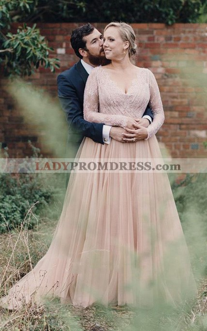 2020 New Arrival A Line V Neck Lace Pink Long Sleeves Tulle Plus Size  Wedding Dresses