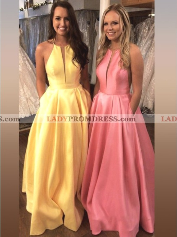 4b21440b0fc 2019 Cheap Satin A Line Simple Yellow Halter V Neck Backless Prom Dress