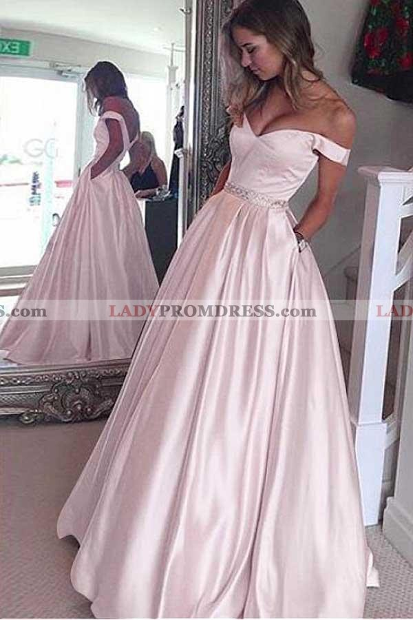 03b07d726625 2019 Siren Princess/A-Line Satin Off The Shoulder Blushing Pink Prom Dresses