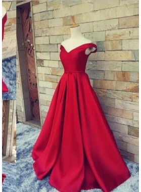 2018 Off the Shoulder Sweetheart A-line Satin Prom Dresses