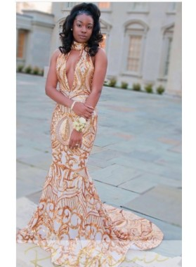 2019 Sexy Trumpet/Mermaid Champagne High Neck Beaded Sequins Prom Dresses