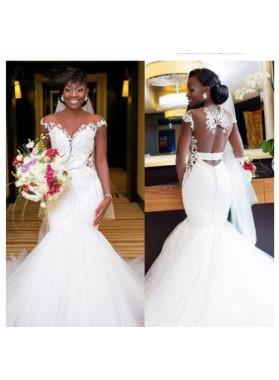 2021 Mermaid Backless Tulle Wedding Dresses