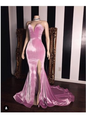 2019 Sweetheart Peach Split Mermaid Satin Prom Dresses