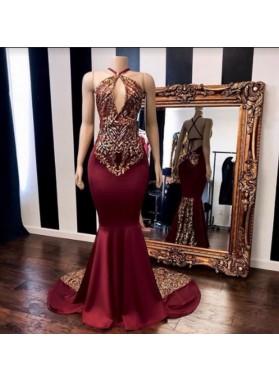 2019 Halter Appliques Beaded Mermaid Satin Burgundy Prom Dresses