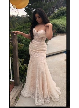 2021 Ivory Sweetheart Mermaid Prom Dresses