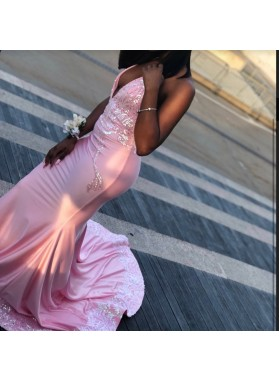 2019 Unique Pink Halter Lace Sequin Satin Prom Dresses