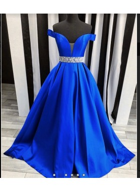 2021 Off The Shoulder Beading Sweetheart Ball Gown Royal Blue Satin Prom Dresses