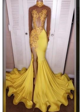 2019 Junoesque Yellow Split Mermaid/Trumpet Long Sleeve Satin Prom Dresses