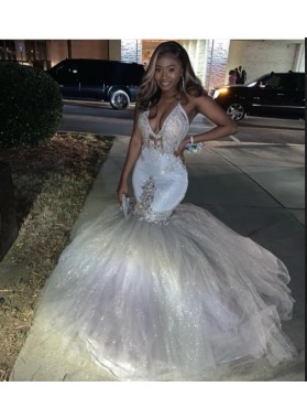 2020 Halter Sexy Beaded Tulle Silver Prom Dresses